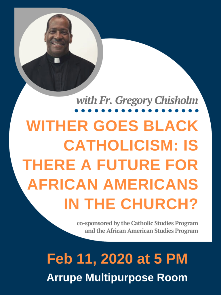 Flyer with a photograph of Fr. Gregory Chisholm. All of the flyer's details are written down next to the flyer image.
